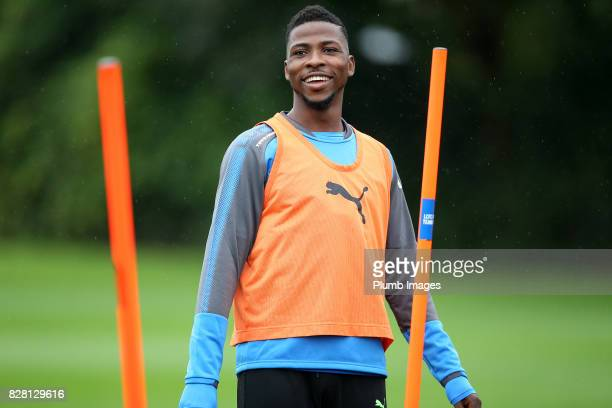 Kelechi Iheanacho during the Leicester City training session at Belvoir Drive Training Complex on August 09 2017 in Leicester United Kingdom