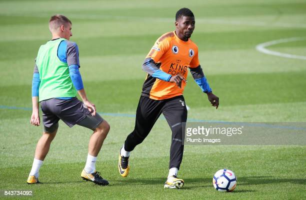 Kelechi Iheanacho during the Leicester City training session at Belvoir Drive Training Complex on September 07 2017 in Leicester United Kingdom