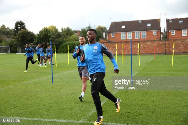 Kelechi Iheanacho during the Leicester City training session at Belvoir Drive Training Complex on September 18 2017 in Leicester United Kingdom