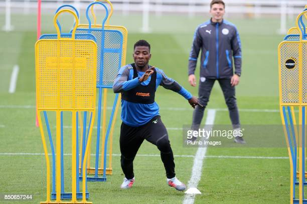 Kelechi Iheanacho during the Leicester City training session at Belvoir Drive Training Complex on September 21 2017 in Leicester United Kingdom