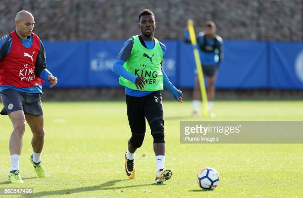 Kelechi Iheanacho during the Leicester City training session at Belvoir Drive Training Complex on October 12 2017 in Leicester United Kingdom
