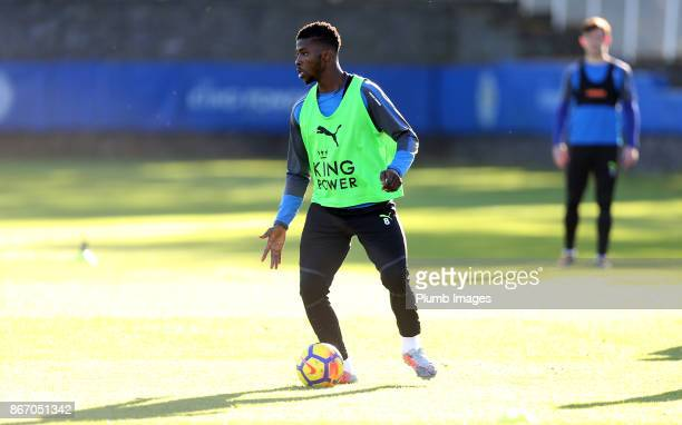 Kelechi Iheanacho during the Leicester City training session at Belvoir Drive Training Complex on October 27 2017 in Leicester United Kingdom