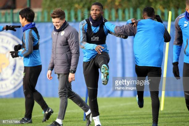 Kelechi Iheanacho during the Leicester City training session at Belvoir Drive Training Complex on November 22 2017 in Leicester United Kingdom