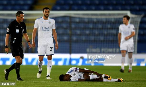 Kelechi Iheanacho Leicester is injured during the preseason friendly match between Leicester City and Borussia Moenchengladbach at The King Power...