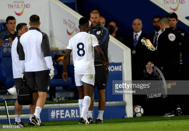 Kelechi Iheanacho Leicester throws his boot down after he is injured during the preseason friendly match between Leicester City and Borussia...