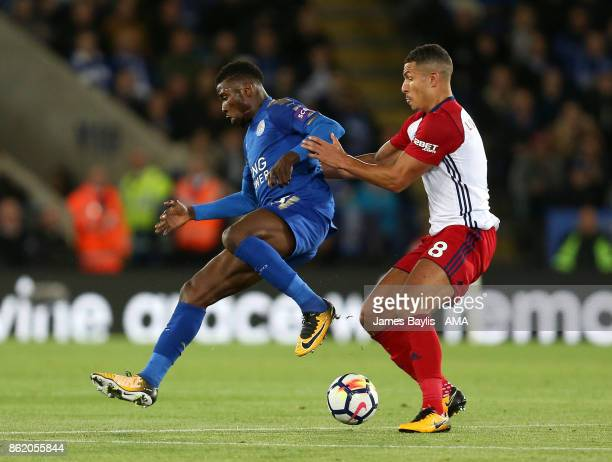 Kelechi Iheanacho of Leicester City and Jake Livermore of West Bromwich Albion during the Premier League match between Leicester City and West...