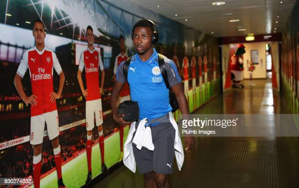 Kelechi Iheanacho of Leicester City arrives at Emirates Stadium ahead of the Premier League match between Arsenal and Leicester City at Emirates...