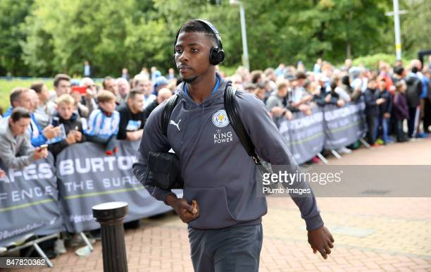 Kelechi Iheanacho of Leicester City arrives at John Smith's Stadium ahead of the Premier League match between Huddersfield Town and Leicester City at...