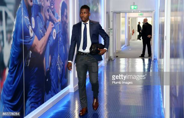 Kelechi Iheanacho of Leicester City arrives at King Power Stadium ahead of the Premier League match between Leicester City and Liverpool at King...