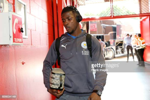 Kelechi Iheanacho of Leicester City arrives at Old Trafford ahead of the Premier League match between Manchester United and Leicester City at Old...