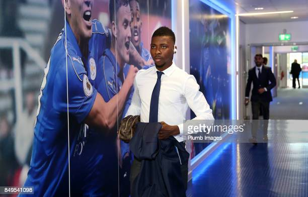 Kelechi Iheanacho of Leicester City arrives at the stadium ahead of the Carabao Cup third round match between Leicester City and Liverpool at King...