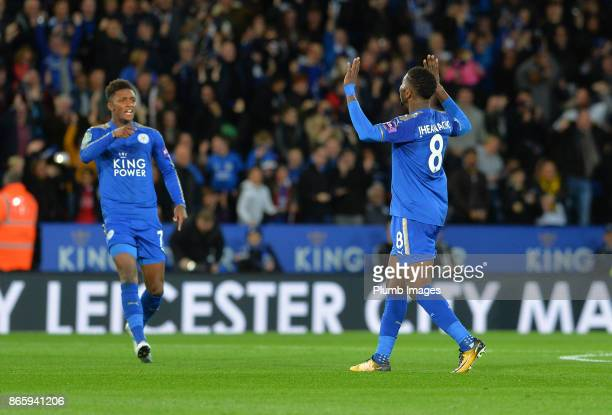 Kelechi Iheanacho of Leicester City celebrates after scoring from outside the box to make it 11 during the Carabao Cup match between Leicester City...