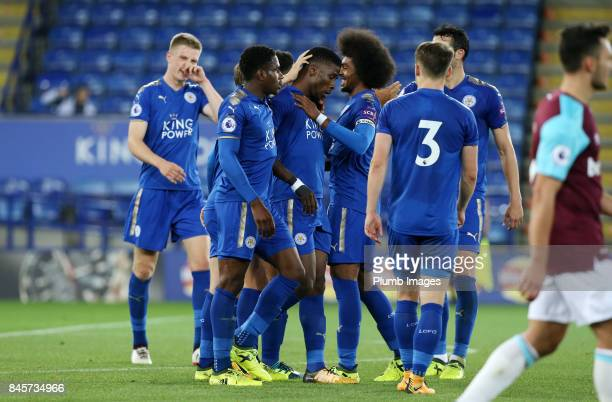 Kelechi Iheanacho of Leicester City celebrates with his team mates after scoring to make it 10 during the Premier League 2 match between Leicester...