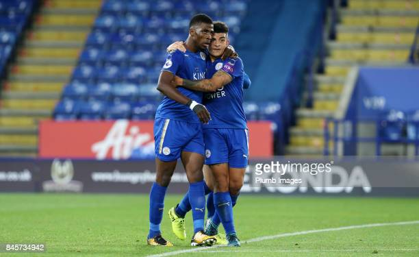 Kelechi Iheanacho of Leicester City celebrates with Josh Gordon of Leicester City after scoring to make it 10 during the Premier League 2 match...