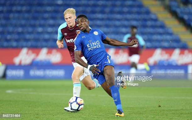 Kelechi Iheanacho of Leicester City in action with Alex Pike of West Ham United during the Premier League 2 match between Leicester City and West Ham...