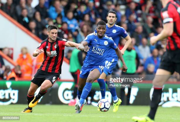 Kelechi Iheanacho of Leicester City in action with Andrew Surman of Bournemouth during the Premier League match between Bournemouth and Leicester...