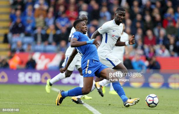 Kelechi Iheanacho of Leicester City in action with Antonio Rudiger of Chelsea during the Premier League match between Leicester City and Chelsea at...