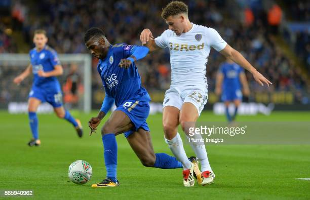 Kelechi Iheanacho of Leicester City in action with Kalvin Phillips of Leeds United during the Carabao Cup match between Leicester City and Leeds...