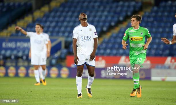 Kelechi Iheanacho of Leicester City just before having to be replaced due to injury during the Leicester City v Borussia Monchengladbach Preseason...