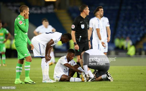 Kelechi Iheanacho of Leicester City receives treatment before having to replaced during the Leicester City v Borussia Monchengladbach Preseason...
