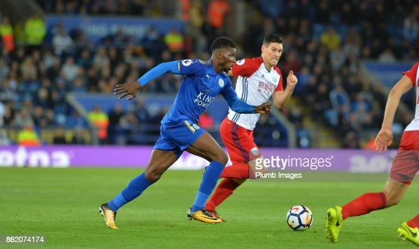 Kelechi Iheanacho of Leicester City runs of the West Bromwich Albion defence during the Premier League match between Leicester City and West Bromwich...