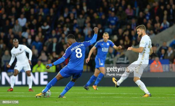 Kelechi Iheanacho of Leicester City scores from outside the box to make it 11 during the Carabao Cup match between Leicester City and Leeds United at...