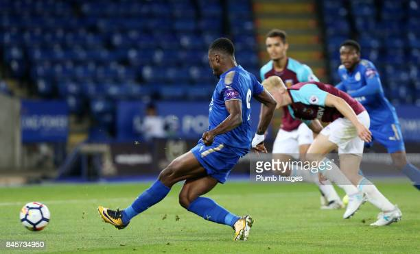 Kelechi Iheanacho of Leicester City scores to make it 10 during the Premier League 2 match between Leicester City and West Ham United at King Power...
