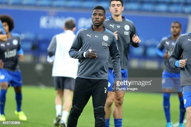 Kelechi Iheanacho of Leicester City warms up ahead of the Premier League 2 match between Leicester City and West Ham United at King Power Stadium on...