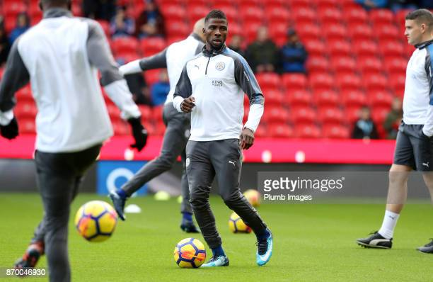 Kelechi Iheanacho of Leicester City warms up at Bet365 Stadium ahead of the Premier League match between Stoke City and Leicester City at Bet365...