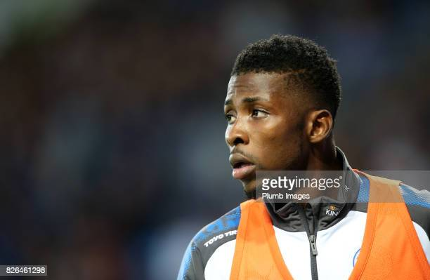 Kelechi Iheanacho of Leicester City warms up from the bench during the Leicester City v Borussia Monchengladbach Preseason Friendly at King Power...