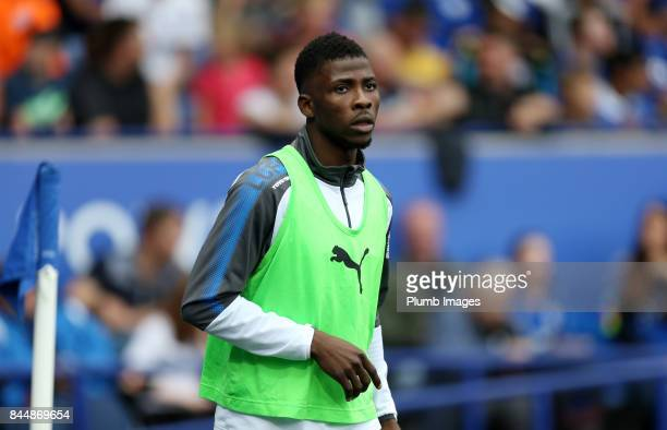 Kelechi Iheanacho of Leicester City warms up from the bench during the Premier League match between Leicester City and Chelsea at King Power Stadium...