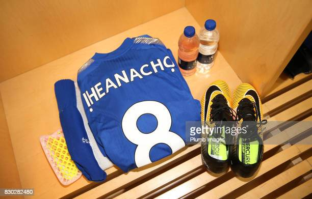 Kelechi Iheanacho of Leicester City's kit is laid out at Emirates Stadium ahead of the Premier League match between Arsenal and Leicester City at...