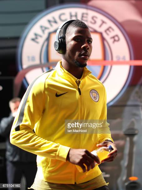 Kelechi Iheanacho of Manchester City arrives at the stadium prior to the Premier League match between Middlesbrough and Manchester City at the...