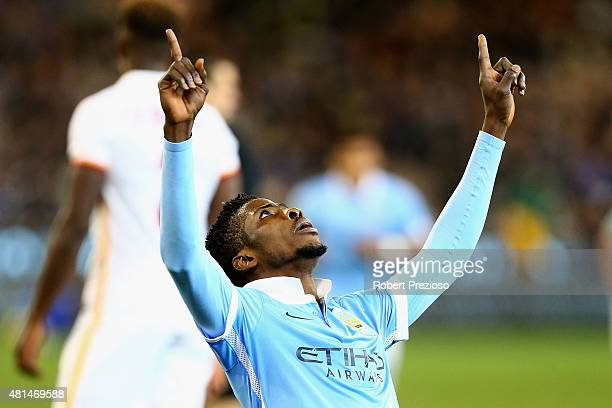 Kelechi Iheanacho of Manchester City celebrates after scoring a goal during the International Champions Cup friendly match between Manchester City...