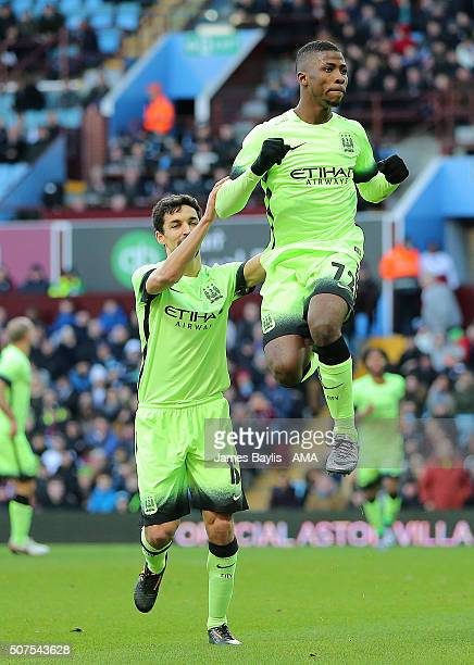 Kelechi Iheanacho of Manchester City celebrates after scoring a penalty to make it 02 during the Emirates FA Cup match between Aston Villa and...