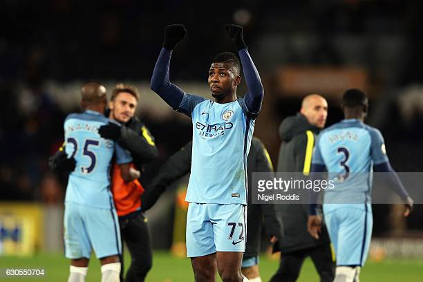 Kelechi Iheanacho of Manchester City celebrates after the Premier League match between Hull City and Manchester City at KCOM Stadium on December 26...