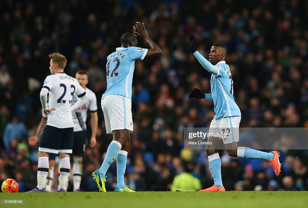 <a gi-track='captionPersonalityLinkClicked' href=/galleries/search?phrase=Kelechi+Iheanacho&family=editorial&specificpeople=11503326 ng-click='$event.stopPropagation()'>Kelechi Iheanacho</a> of Manchester City celebrates scoring his goal with <a gi-track='captionPersonalityLinkClicked' href=/galleries/search?phrase=Yaya+Toure&family=editorial&specificpeople=550817 ng-click='$event.stopPropagation()'>Yaya Toure</a> of Manchester City during the Barclays Premier League match between Manchester City and Tottenham Hotspur at Etihad Stadium on February 14, 2016 in Manchester, England.