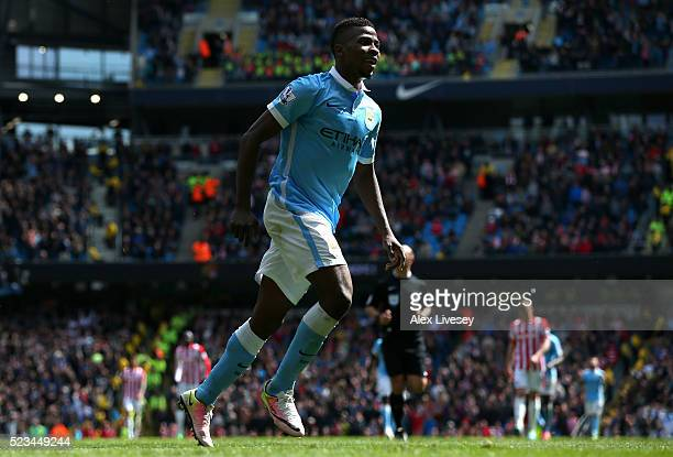 Kelechi Iheanacho of Manchester City celebrates scoring his second and his sides fourth goal during the Barclays Premier League match between...