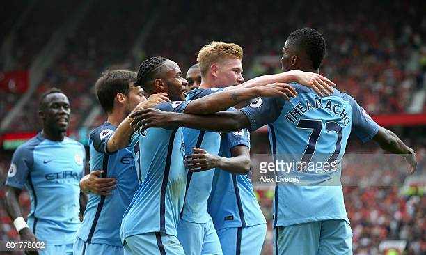 Kelechi Iheanacho of Manchester City celebrates scoring his sides second goal with his Manchester City team mates during the Premier League match...