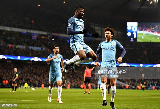Kelechi Iheanacho of Manchester City celebrates scoring his sides first goal during the UEFA Champions League Group C match between Manchester City...