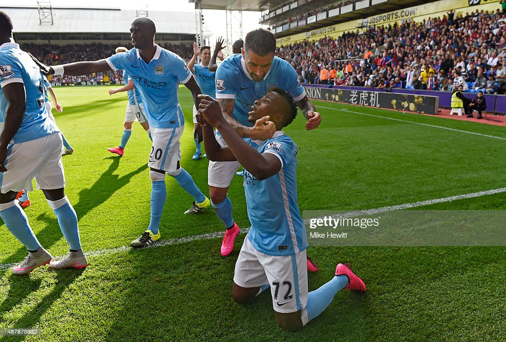 Kelechi Iheanacho of Manchester City celebrates scoring his team's opening goal during the Barclays Premier League match between Crystal Palace and Manchester City at Selhurst Park on September 12, 2015 in London, United Kingdom.
