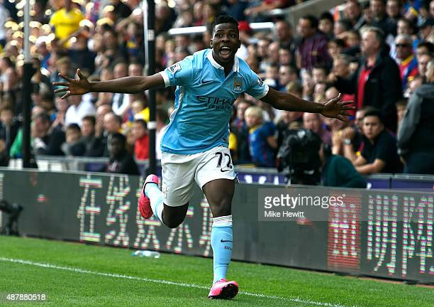 Kelechi Iheanacho of Manchester City celebrates scoring his team's opening goal during the Barclays Premier League match between Crystal Palace and...