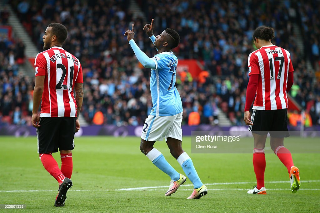 Kelechi Iheanacho of Manchester City celebrates scoring his team's opening goal during the Barclays Premier League match between Southampton and Manchester City at St Mary's Stadium on May 1, 2016 in Southampton, England.