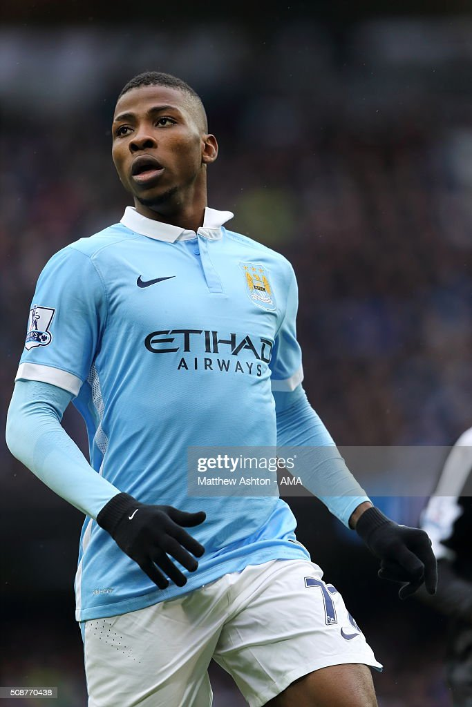 <a gi-track='captionPersonalityLinkClicked' href=/galleries/search?phrase=Kelechi+Iheanacho&family=editorial&specificpeople=11503326 ng-click='$event.stopPropagation()'>Kelechi Iheanacho</a> of Manchester City during the Barclays Premier League match between Manchester City and Leicester City at the Etihad Stadium on February 06, 2016 in Manchester, England.