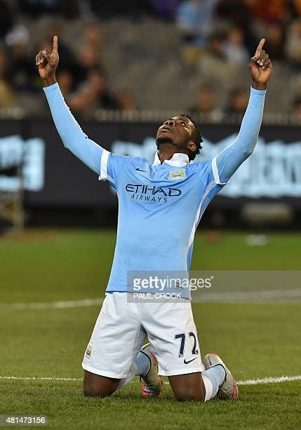 Kelechi Iheanacho of Manchester City gestures after scoring a goal at the International Champions Cup football match between English Premier League...