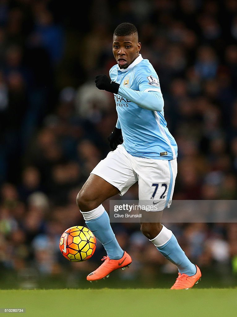 <a gi-track='captionPersonalityLinkClicked' href=/galleries/search?phrase=Kelechi+Iheanacho&family=editorial&specificpeople=11503326 ng-click='$event.stopPropagation()'>Kelechi Iheanacho</a> of Manchester City in action during the Barclays Premier League match between Manchester City and Tottenham Hotspur at Etihad Stadium on February 14, 2016 in Manchester, England.