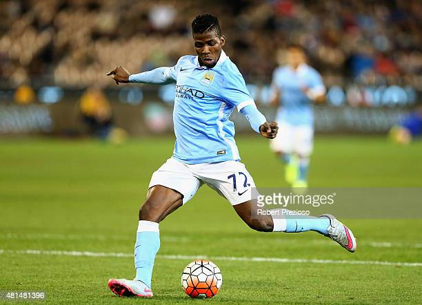 Kelechi Iheanacho of Manchester City kicks the ball during the International Champions Cup friendly match between Manchester City and AS Roma at the...