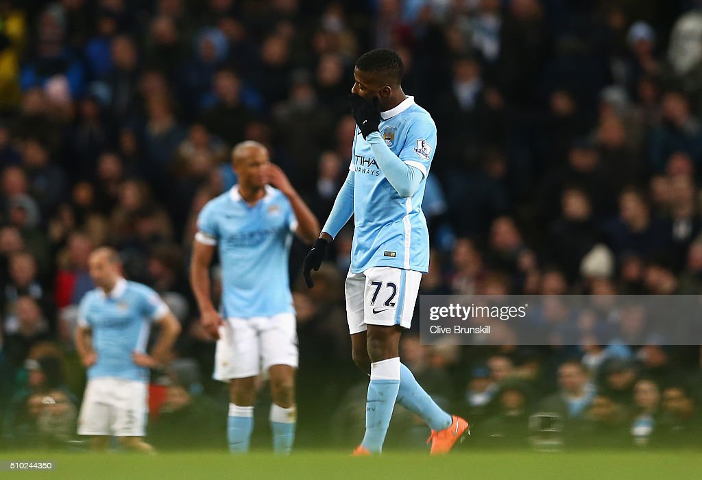 <a gi-track='captionPersonalityLinkClicked' href=/galleries/search?phrase=Kelechi+Iheanacho&family=editorial&specificpeople=11503326 ng-click='$event.stopPropagation()'>Kelechi Iheanacho</a> of Manchester City looks dejected after the second Spurs goal during the Barclays Premier League match between Manchester City and Tottenham Hotspur at Etihad Stadium on February 14, 2016 in Manchester, England.