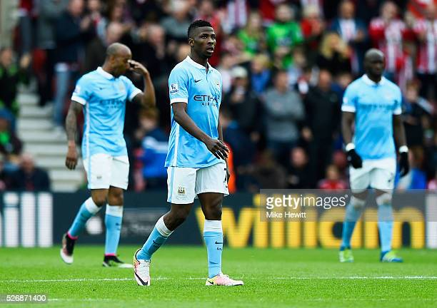 Kelechi Iheanacho of Manchester City looks despondent as Sadio Mane of Southampton scores their third goal during the Barclays Premier League match...