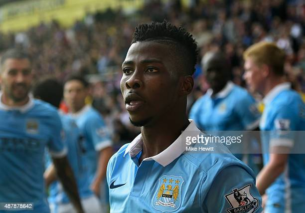 Kelechi Iheanacho of Manchester City looks on after scoring his team's opening goal during the Barclays Premier League match between Crystal Palace...